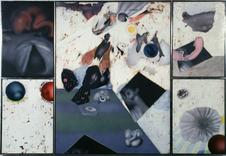 "Compostion in Black and Gray's Anatomy. oil on masonite 49""x 70"" (1978)"