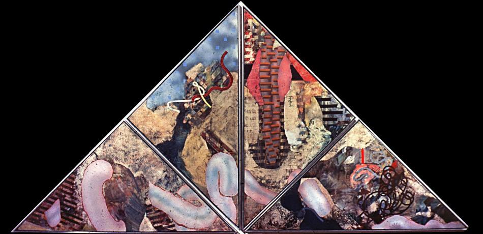 "Fleshy Remnant. oil on plywood 60""x 120"" (1973)"