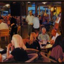 "Lap Dance at Portobello's.  oil on birch panel 24.25"" x60""  (2012)"