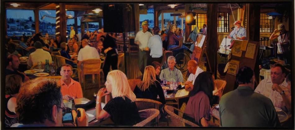 "Lap Dance at Portobello's.  oil on birch panel 24.25"" x60""  (2012)"