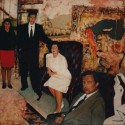 "Commission: The Wally Spiegel Family. oil on birch panel 48""x 60"" (1991)"