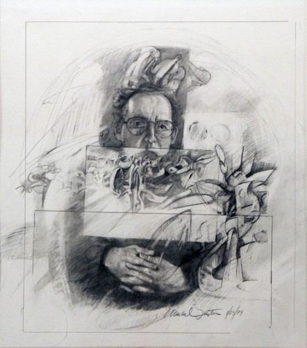 "Self Portrait. graphite on paper 16"" x 14"" (1999)"