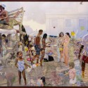 "Gilgulim Reunion and Fugue at Poussin Beach.  oil on birch panel 42""x56"" (2006)"