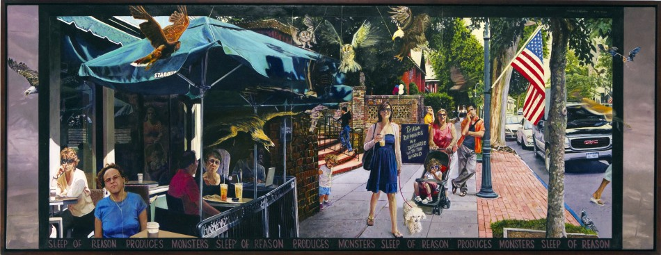 "After Goya: Sleep of Reason Produces Monsters.  oil on birch panel 25""x64"" (2009)"