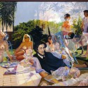 "After Manet- Gulgilim Luncheon.  oil on birch panel 33""x49.5"" (2006)"