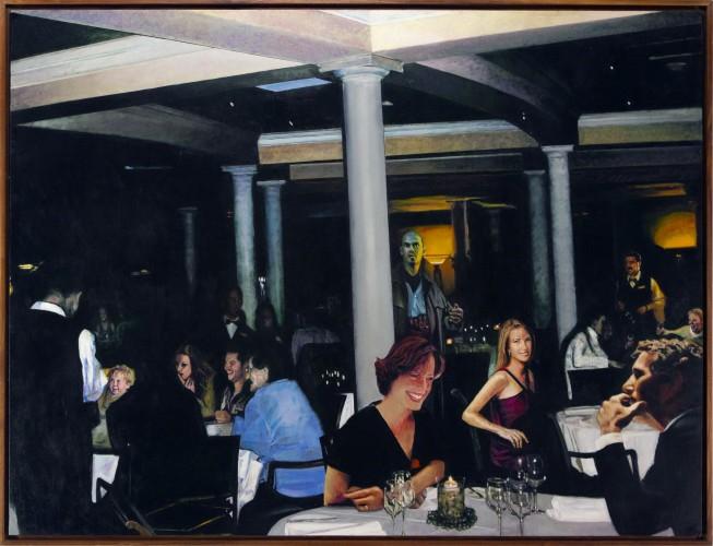 "Dinner at 8:00. oil on birch panel 42""x 54"" (2004)"