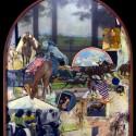 "Saratoga August. oil on birch panel 57""x 50"" (1987)"
