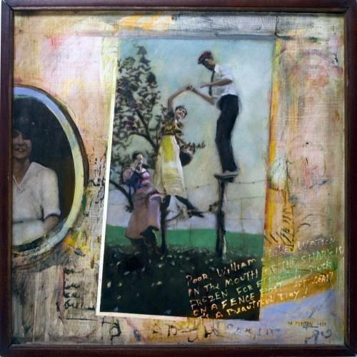 """Gertrude's Trunk- Poor William. oil on birch panel 16""""x 16"""" (1988)"""