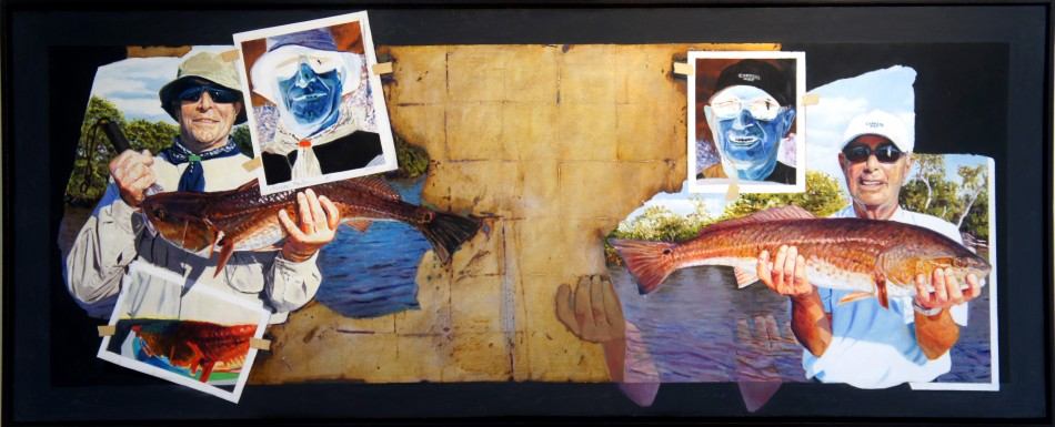 "Larry and Carl. oil and oxidized silver leaf on birch panel 24""x60"" (2013)"